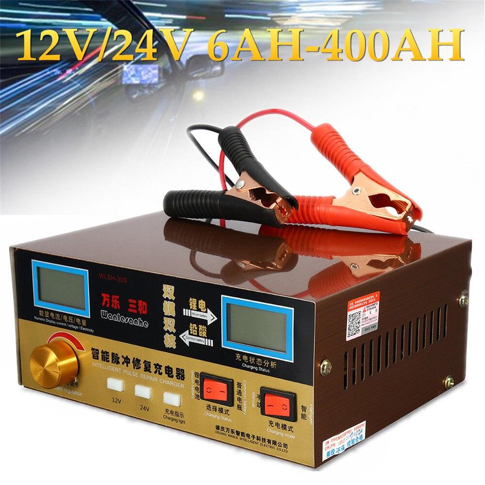 Automatique Chargeur De Batterie de Voiture Intelligente Réparation D'impulsion Type 110 v-250 v 12 v/24 v 6AH-400AH Surchauffe court-Circuit Protéger Inverse