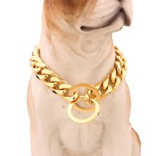 Pet Dog Choke Chain Choker Collar Gold Plated Necklace Stainless Steel Training Collar 14/16/18/20/22/24/26 Inch 15mm Diameter(China)