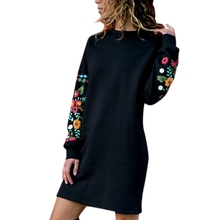 Fashion Women Elegant Dress Flower Print O-Neck Long Sleeve Solid Mini Loose Casual