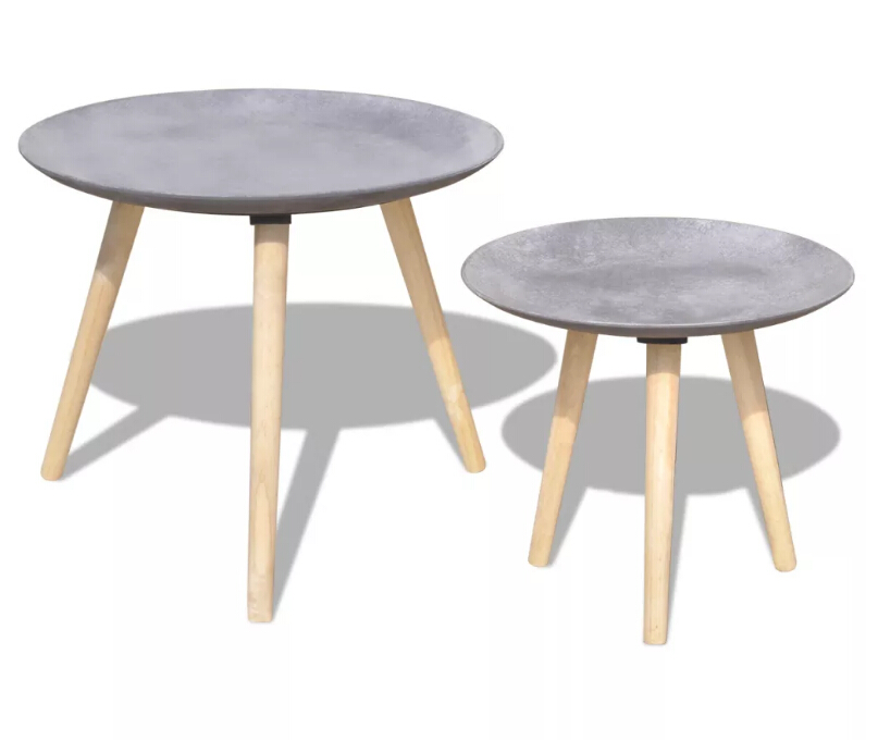 VidaXL Two Piece Side Table/Coffee Table Set Nordic Fashion Home Living Room Nesting Side 55 Cm&44 Cm Concrete Grey