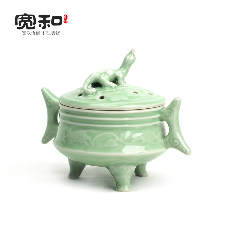Longquan celadon ceramic incense coil furnace three ears brave cover aromatherapy home daily