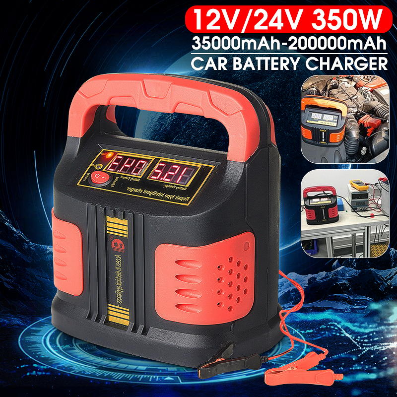 Car Battery Emergency-Charger-Booster Portable 350W 12V/24V LCD 200ah ABS Repair-Type