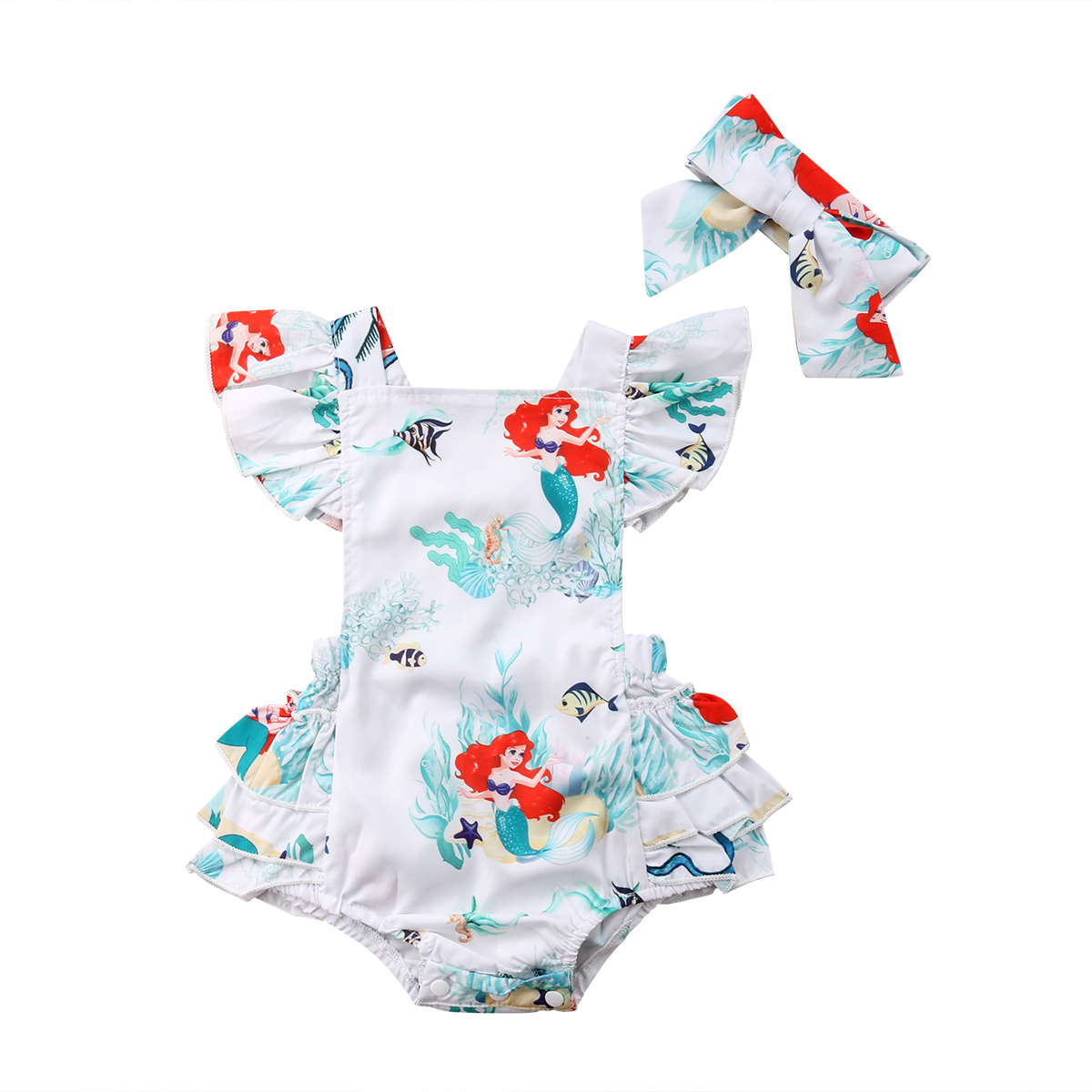 2019 Summer New Toddler Infant Baby Girls Cute Cotton Sleeveless Cartoon Mermaid Backless Lace Dress   Romper   Outfits 0-2T