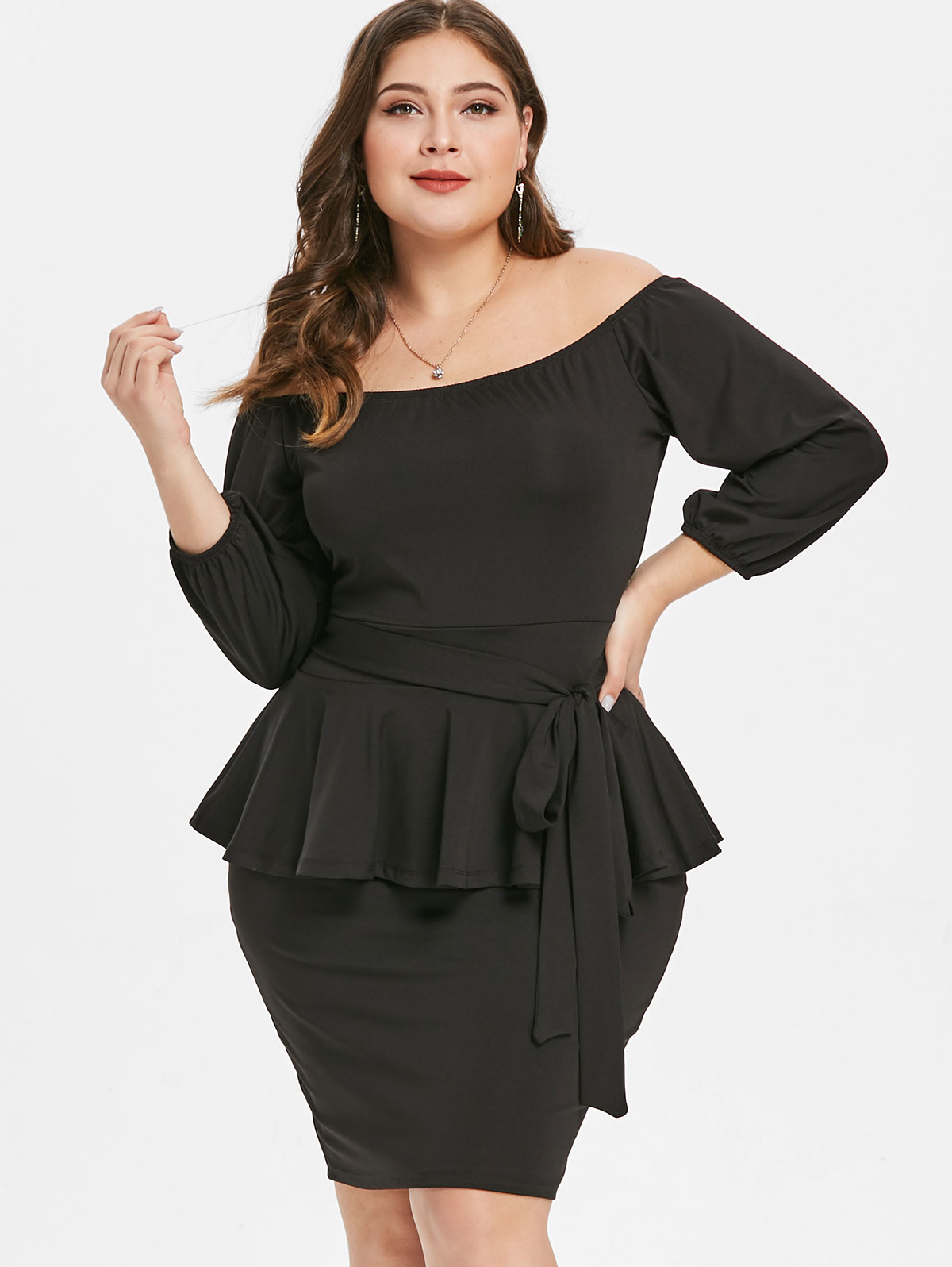 Detail Feedback Questions about Wipalo Plus Size Off The Shoulder 3 4  Sleeves Belted Peplum Dress Women Clothing Winter Spring Black Bodycon Dress  Vestidos ... 05a6941ba3f7