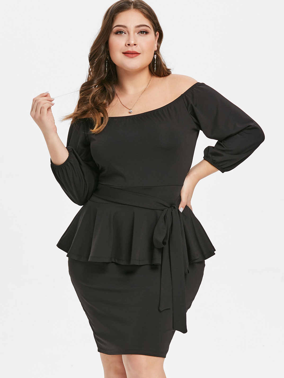 Wipalo Plus Size Off The Shoulder 3/4 Sleeves Belted Peplum Dress Women  Clothing Winter Spring Black Bodycon Dress Vestidos 5XL