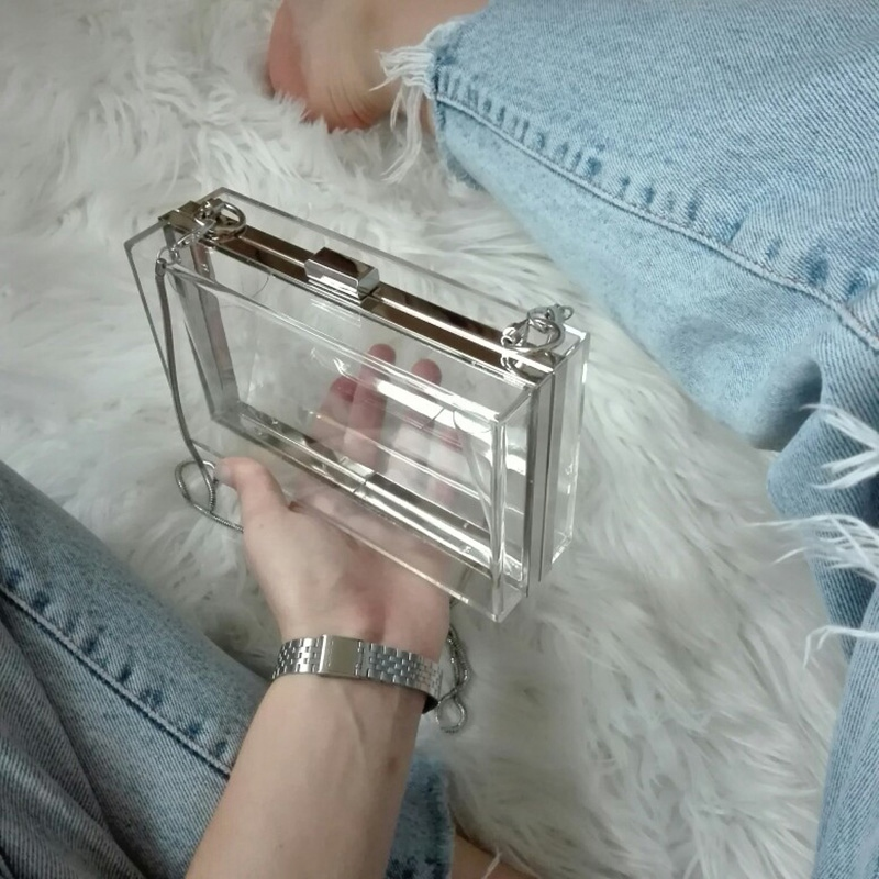 Acrylic Transparent Clutch Chain Box Women Shoulder Bags Hard Day Clut