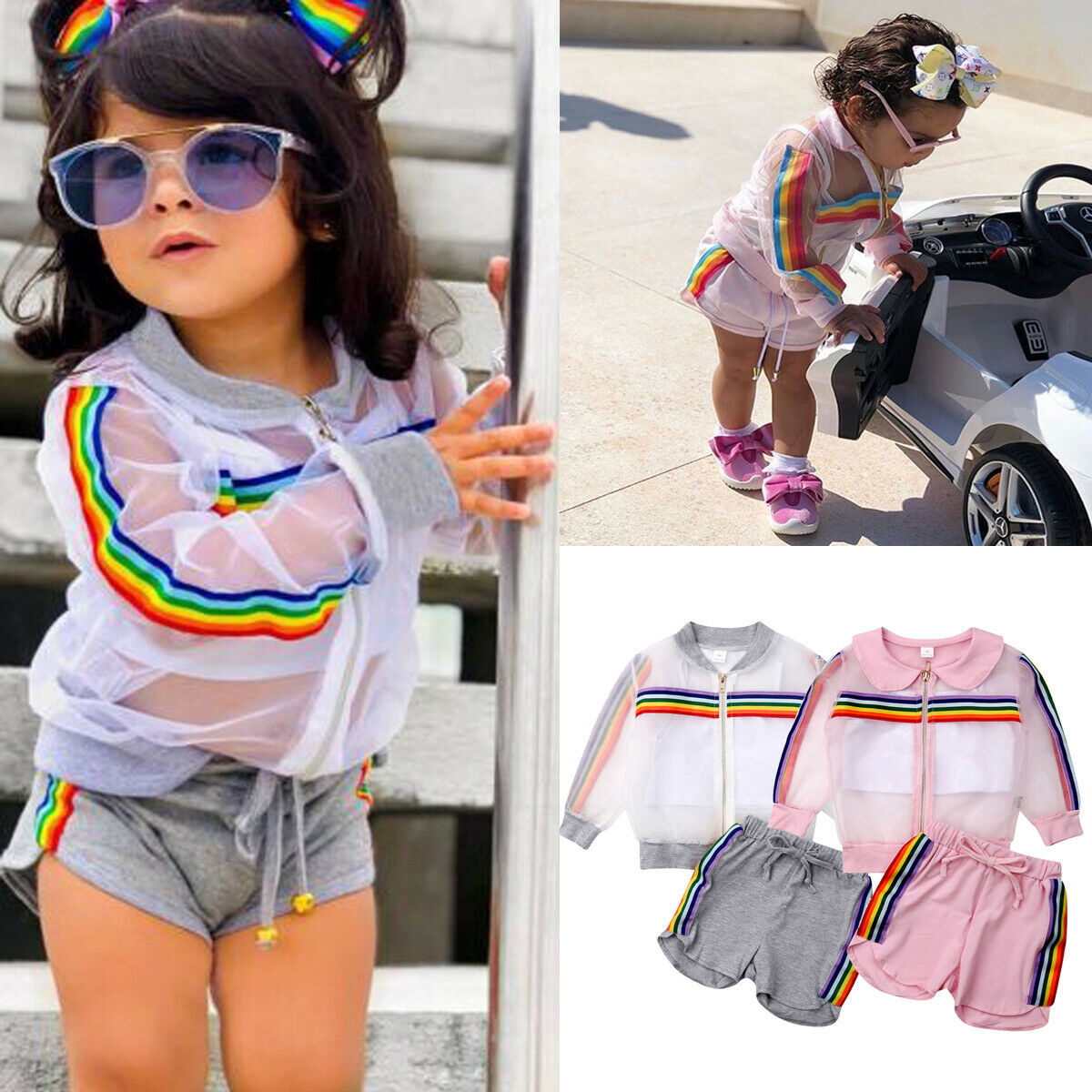 2019 New Toddler Girl Clothes Set Summer See Through Coat Crop Top Shorts Baby Girls Long Sleeve Coat+Vest+Short Pants Outfits(China)