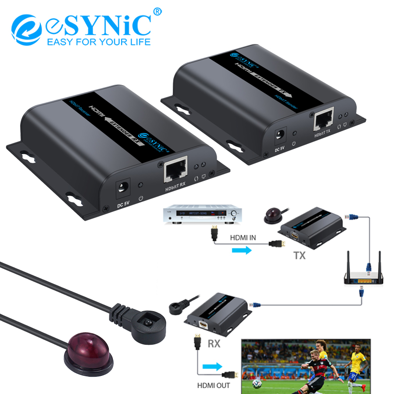 Esynic 1080P 120m HDbitT Ethernet Network Extender HDMI Extender Support Network Routers or Switchers over Single RJ45 CAT6/6A