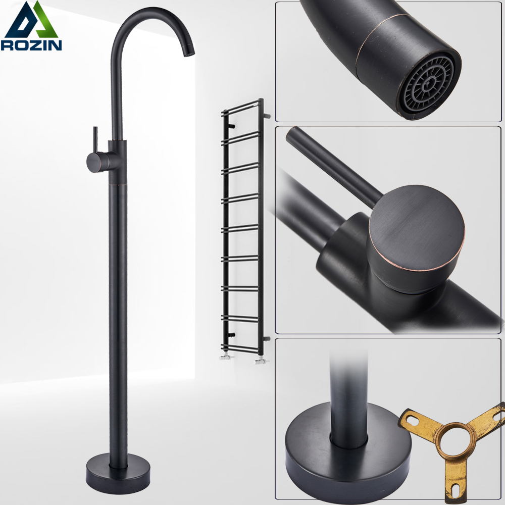 Black Bronze Floor Mounted Bathroom Tub Faucet Single Handle Hot and Cold Water Tub Mixers Free