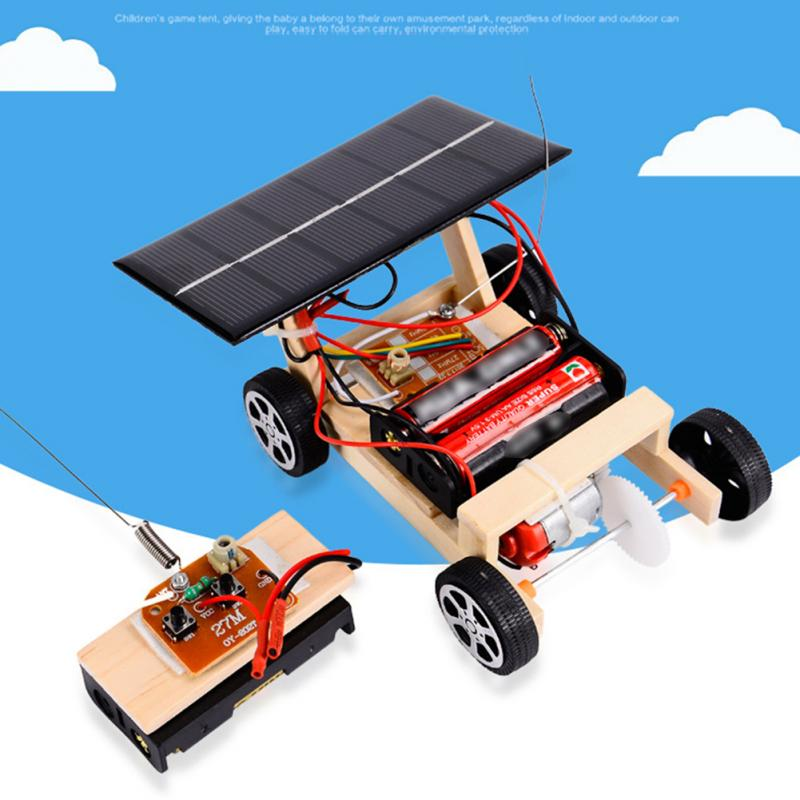 Solar Powered Mini RC Car Funny Vehicle Wooden Kids Gift DIY Assembly Intelligence Building Tube Wireless Educational Toy Model