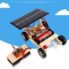 Solar Powered Mini RC Car Funny Vehicle Wooden Kids