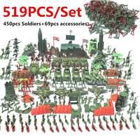 519pcs Military Plastic Soldier Model Toy Army Men Figures Playset Kits Sandbox Game Toys Decor Gift For Children Kids Boys