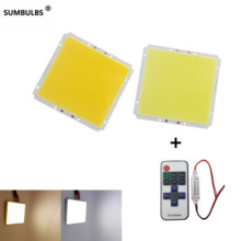 Dimmable 100x95MM Square Ultra Bright 50W COB LED panel Light Lamp Warm Cold White DC 12V Matrix Bulb with RF remote controller(China)