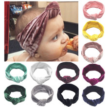 11 Colors Available Baby Headband Cute Kids Knotted High Elastic Solid Toddler Velvet Baby Hair Accessories Baby Girl Headbands(China)