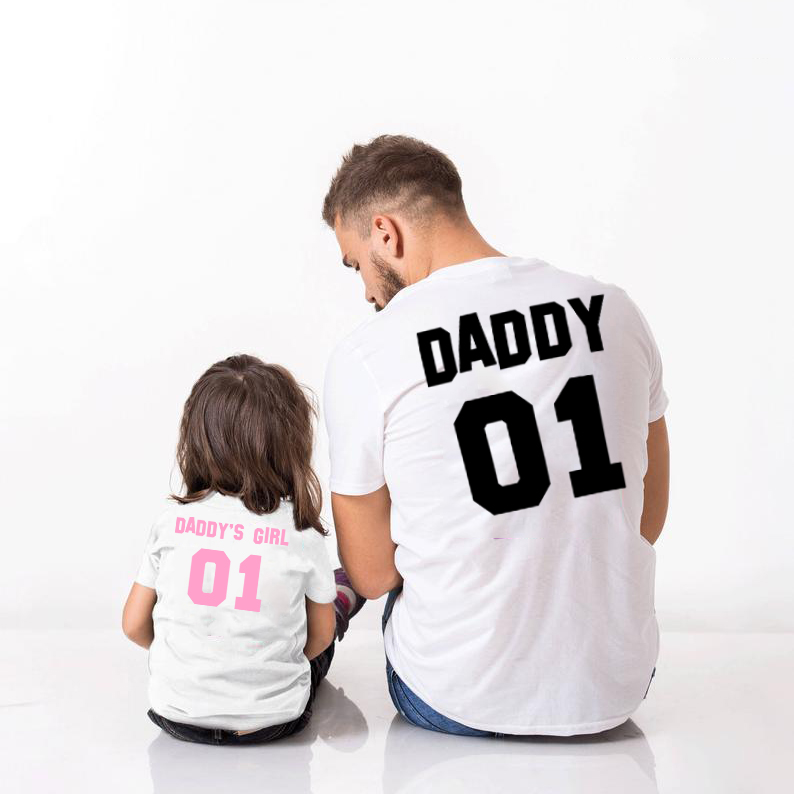 Father Baby Shirts Daddy 01 Daddy's Girl 01 TShirts Dad And Daughter Match T Shirt Sumemr Short Sleeve Family Matching Clothing