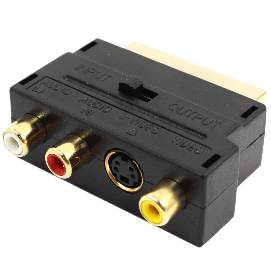 20 Pin Male To Female Pin 3 RCA AV + S-Video Adapter - Black