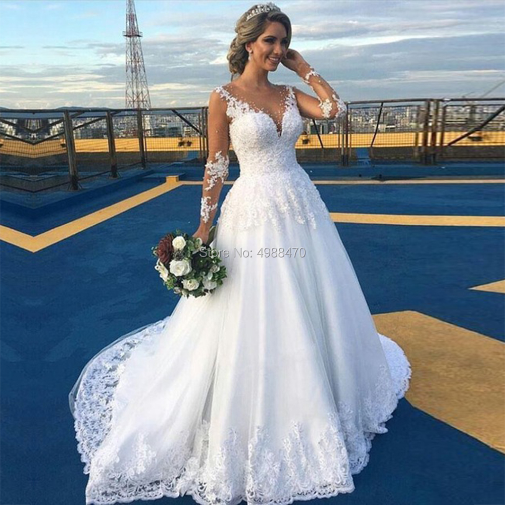 Robe De Marriage Cheap Bridal Gowns Sheer Tulle Nude Sleeves Lace A Line Wedding Dresses Plus