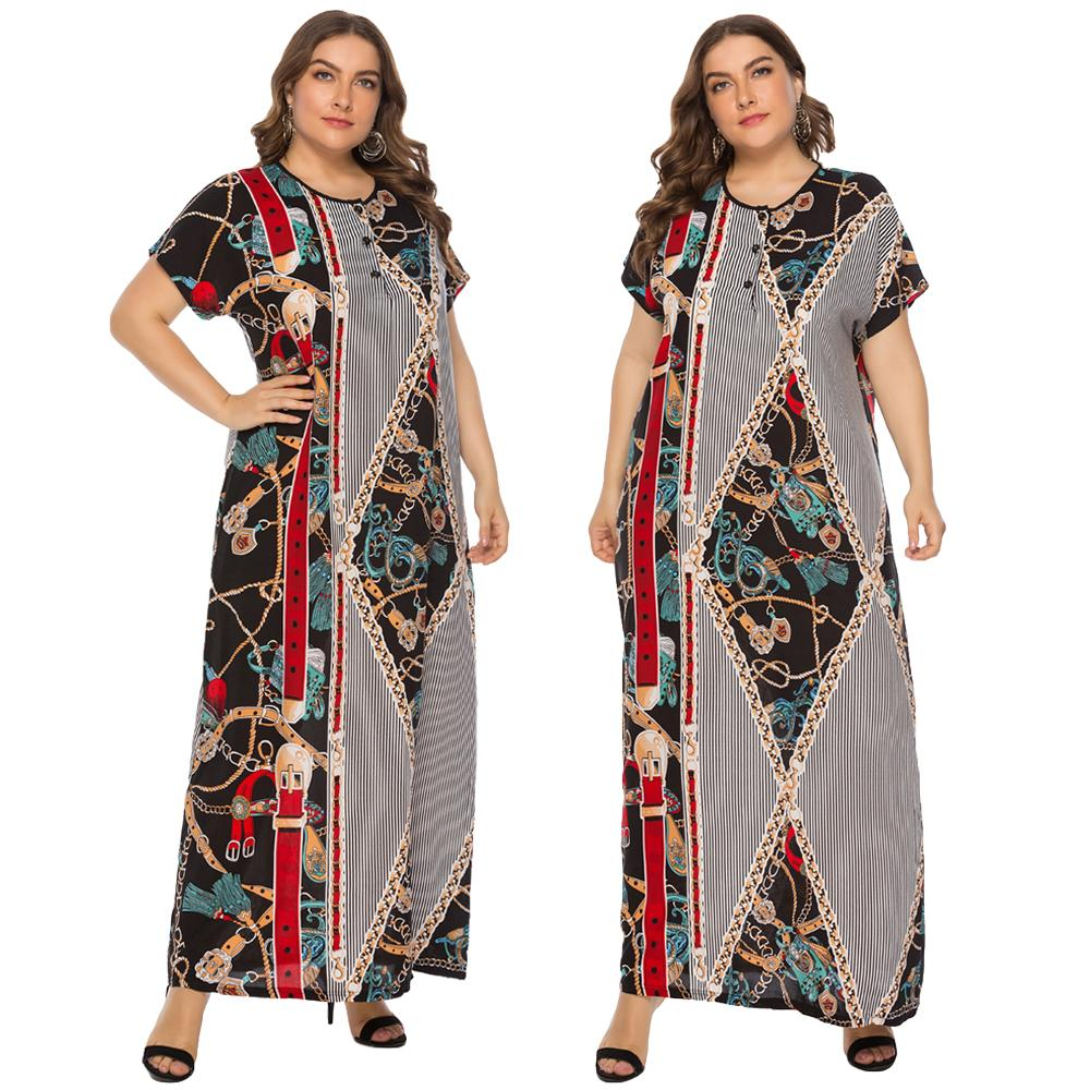 Plus Size Women Kaftan Boho Printed Long Dress Muslim Maxi Gown Caftan Arab Robe Islamic Short Sleeve Summer Dresses O-neck New
