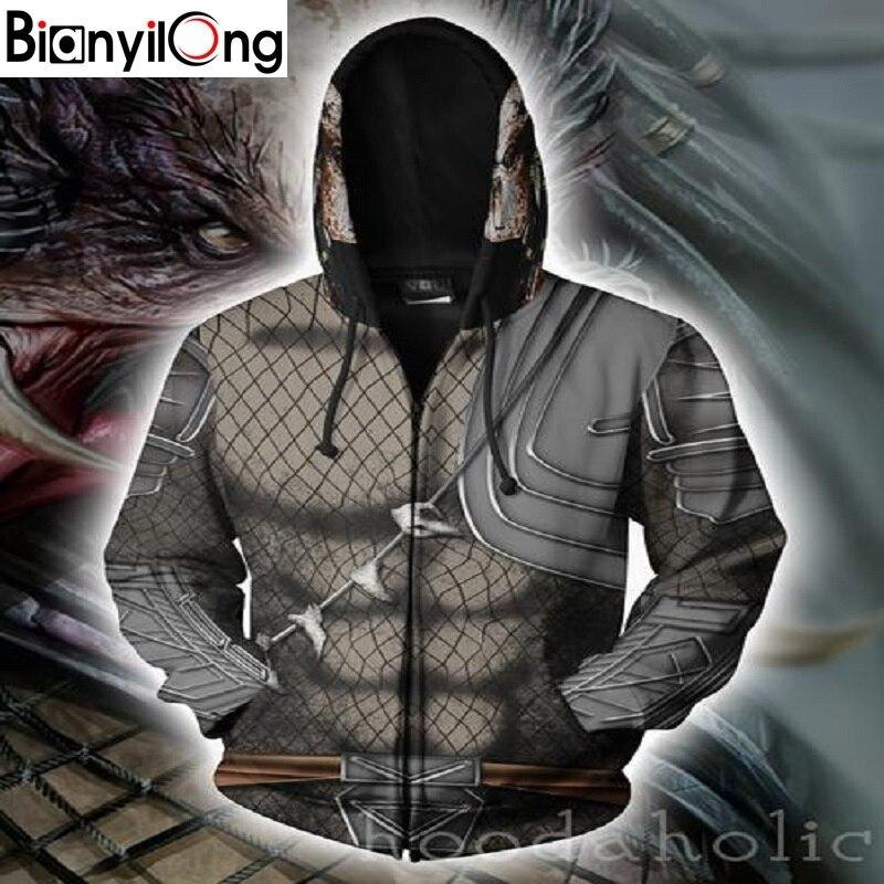 Bianyilong 2018 nouveau hommes femmes à capuche prédateur 3d sweats à capuche imprimés survêtement sweat à capuche zippé à capuche Hip Hop hauts taille américaine sweat à capuche avec fermeture éclair