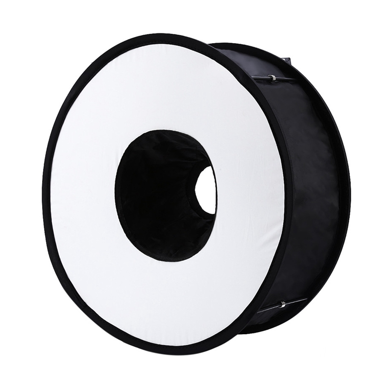 45cm Foldable Ring Speedlite Flash Diffuser Macro Shoot Round Softbox For Canon Nikon Sony Pentax Godox Speedlight