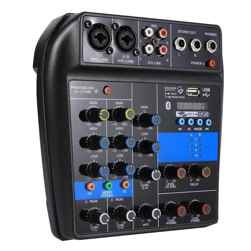 ALLOYSEED S 1 for DJ Karaoke 4 Channel BT Mixing Console Digital Audio Built in Reverb