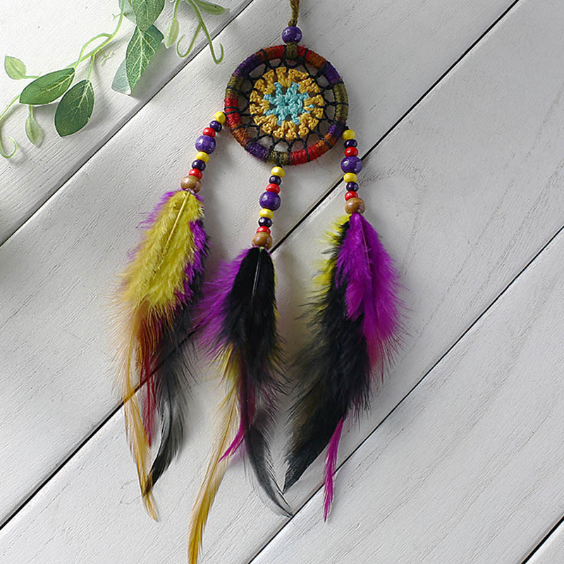 Vintage car pendant national style Indian feather pendant rural style gift trumpet 5cm dream trap car pendant in Wind Chimes Hanging Decorations from Home Garden