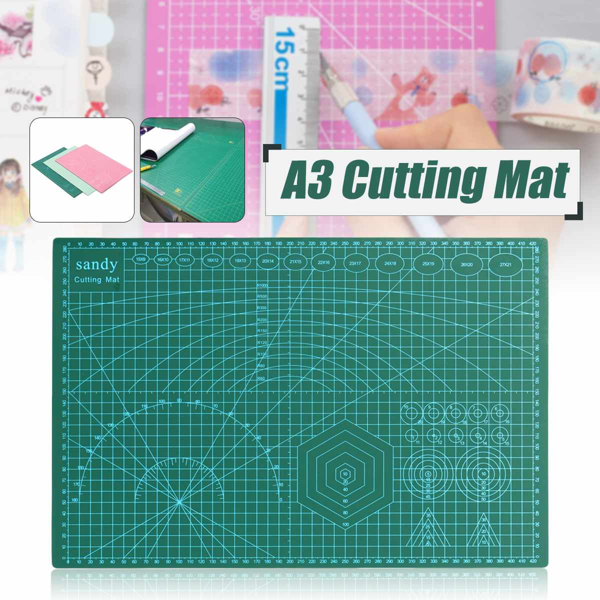 A3 Grid Lines Cutting Craft Mat Board Self Healing Non Slip Printed Scale Plate Knife Quality Cutting Scrapbooking Office Rated