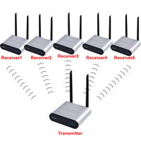 measy AU680 Portable 3.5mm Wireless Audio Adapter 2 in 1 Transmitter and Receiver for TV/Home Stereo System 1 to 5