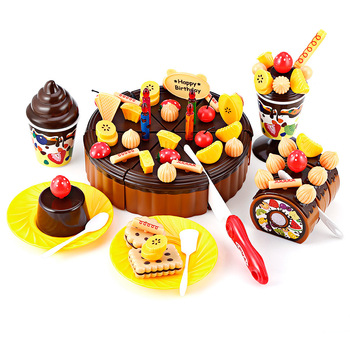 Pretend Play Kitchen Toys Birthday Party Food Fruit Cake Play Toy For Kids DIY Toy Fruit Cutting Birthday Cake Kitchen Food Toys 38 80pcs diy pretend play fruit cutting birthday cake kitchen food toys cocina de juguete toy children girls christmas gift toys