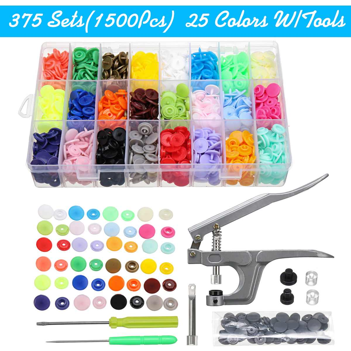 1500pcs T5 Buttons Fastener Resin Press Stud Snap With Pliers Screw Driver Tool DIY Baby Clothing Plastic Buttons Set 25 Color