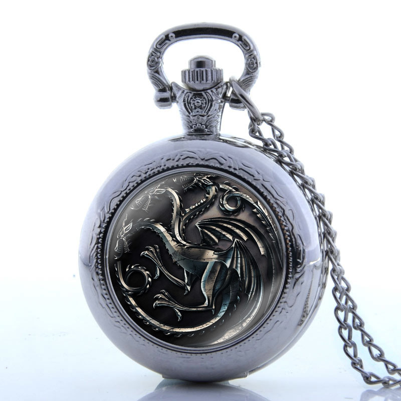 Bronze Steampunk Style Fob Watch Fire And Blood Vintage Chain Watch With Necklace Quartz Pocket Watch Men Pendant Women Watches