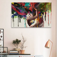 Oil Painting On Canvas Hug Couple Figure Paintings Large Modern Home Decor Wall Art Pictures Abstract Painting Poster(China)