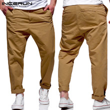 INCERUN Mens Casual Pants Cotton Pockets Button Solid Streetwear Loose Trousers Men Fashion Joggers Business Pants Men Hombre