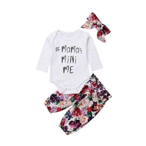 Боди с цветочным принтом для маленьких девочек, топы и штаны, комплект одежды из 2 предметов, хлопковая одежда для маленьких девочек 0-18 м