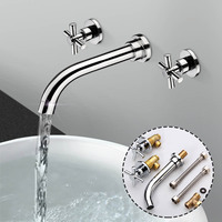 Solid Brass Double Handle Bathroom Waterfall Tap Basin Faucet Mixer Tap Wall Mounted Bathroom Chrome Polished With 2 Hoses