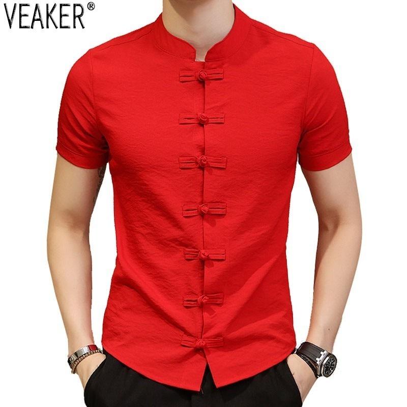 2019 nouveau hommes chinois Vintage chemise col Mandarin Slim Fit manches courtes coton lin chemise blanc rouge noir décontracté hauts