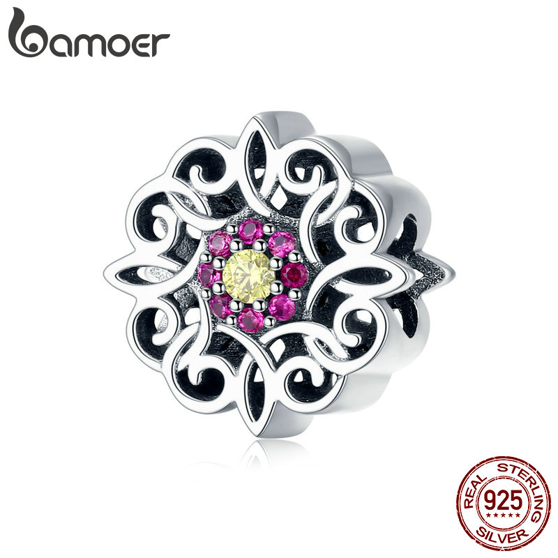 BAMOER Genuine 925 Sterling Silver Vintage Retro Kaleidoscope Shape Charm Beads fit Charms Bracelets DIY Jewelry Gift SCC1108BAMOER Genuine 925 Sterling Silver Vintage Retro Kaleidoscope Shape Charm Beads fit Charms Bracelets DIY Jewelry Gift SCC1108