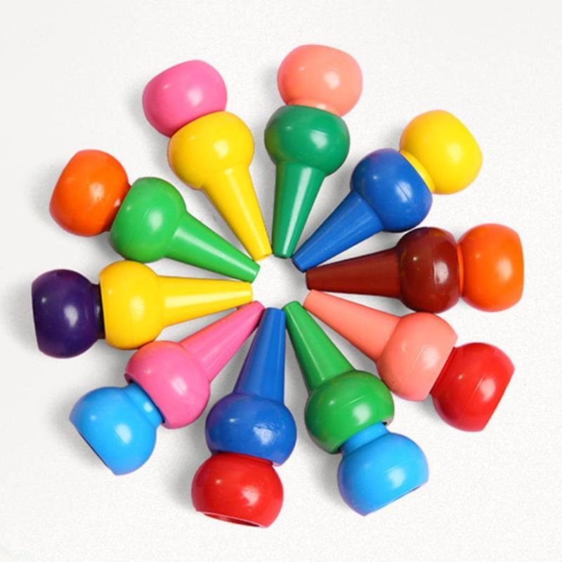 12pcs/Set Non-toxic Children Safety Color Crayons Baby 3D Finger Art Supplies Set  Kindergarten Educational Kids Stationery