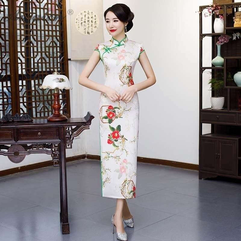 Новый длинный Чонсам с принтом, китайские двойные платья с ярусами, Восточный стиль, похожее Qi Pao, женское традиционное китайское платье, тон