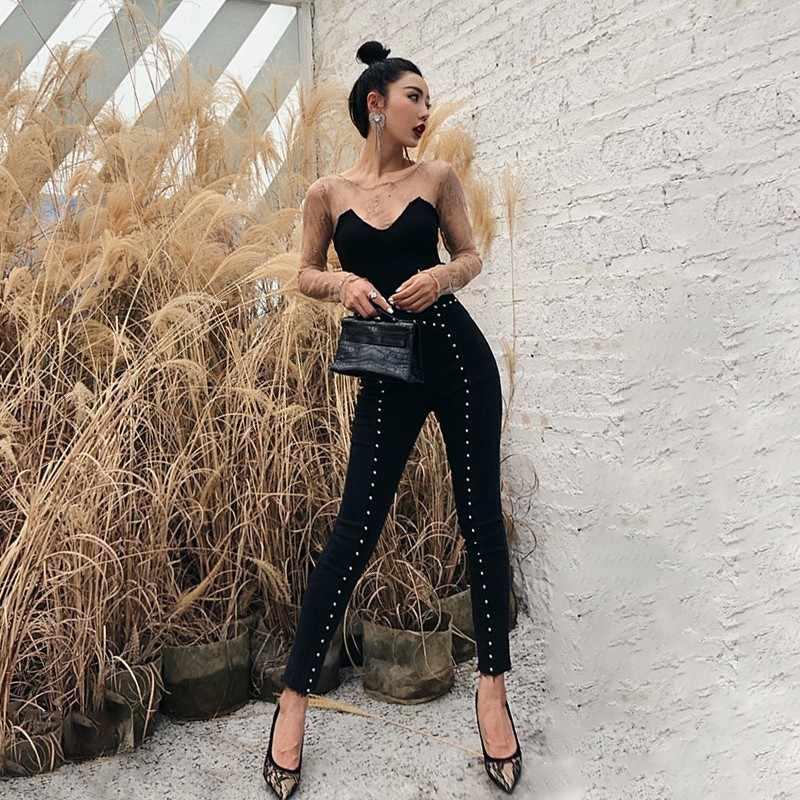 TWOTWINSTYLE тяжелые джинсы с заклепками для женщин туника с высокой талией длиной до щиколотки женские джинсовые брюки Модные узкие брюки 2018 осень