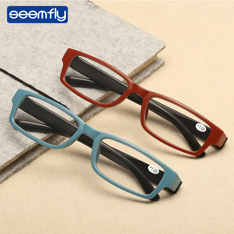 Seemfly Reading Glasses Ultra-Light Women Men Resin Lens Glasses Fashion Eyewear Presbyopia Eyeglasses Elder Hyperopia Glasses