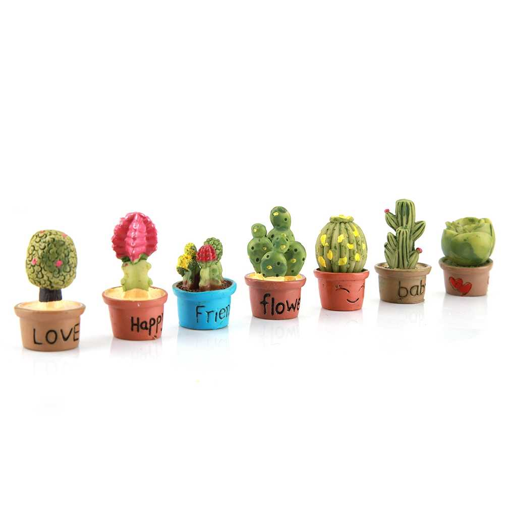7Pcs Tiny Fairy Garden Miniatures Mini Succulent Cactus Pot Cute Artificial Bonsai for DIY Dollhouse Ornament Garden Decor