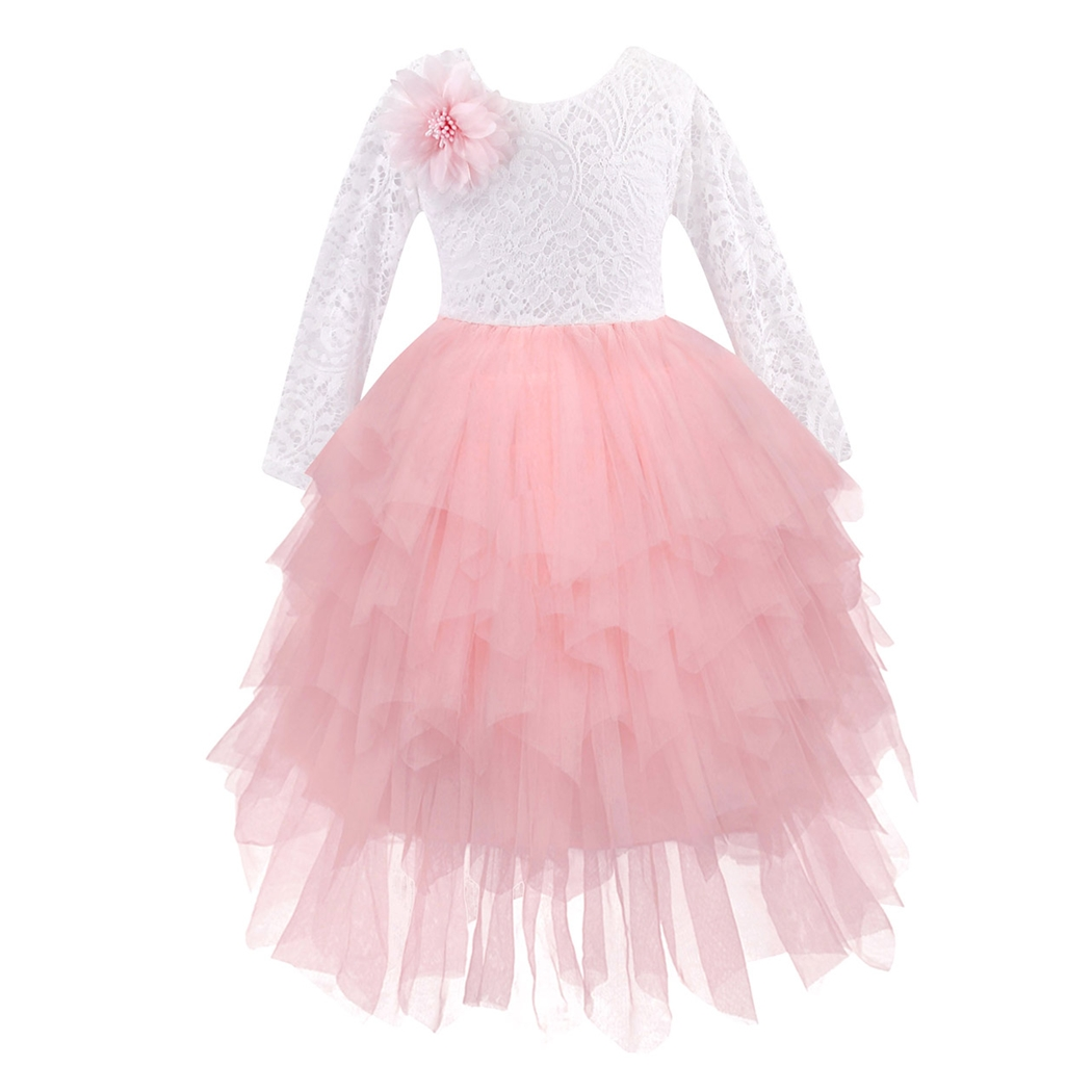 AmzBarley Girls Lace Ball gowns long sleeves Backless With Corsage Tiered Tutu dress Flower Girl Birthday Wedding Party outfits