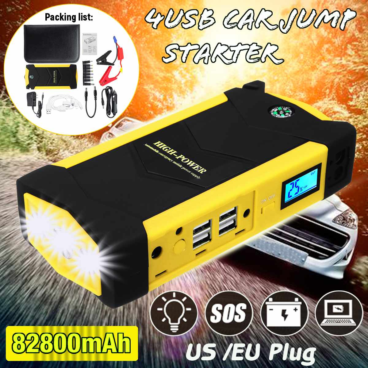 82800mAh 4USB Waterproof Car Jump Starter Power Bank Multifunction Emergency Battery Charger 12V Starting Device
