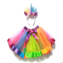 Fantasia Princesa Kid Baby Girl Rainbow Tutu Skirt Costume Party Pettiskirt Menina Roupa Do Bebê 2019 Novo Venda Quente mini Saia(China)