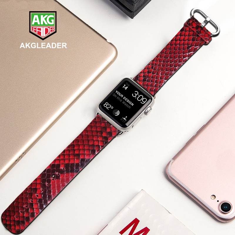 Newest Watch Band For Apple Watch Series 4 44mm Genuine Snake Skin Leather Strap For Apple Series 1 2 3 Watchband iWatch 38-42mm