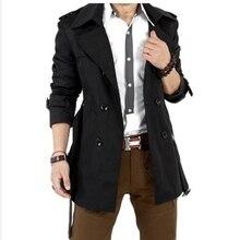 SWYIVY Men's Windbreaker Jacket Slim Belt Double-Breasted Mid-Length Outwear Coats Fashion Business Casual Coat For Men 2019 Hot