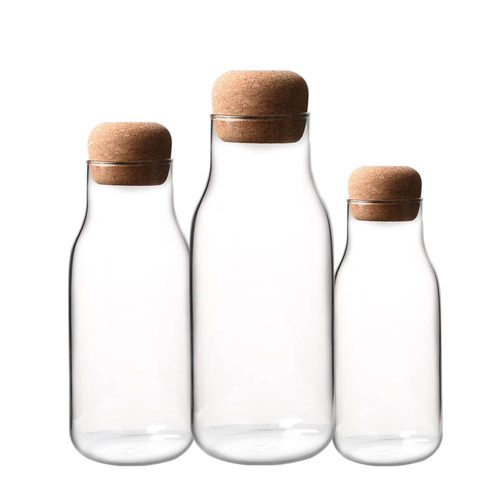 Transparent Glass Bottle Cork Milk Juice Storage Tank Sealing Tea Coffee Kitchen Supplies 2019