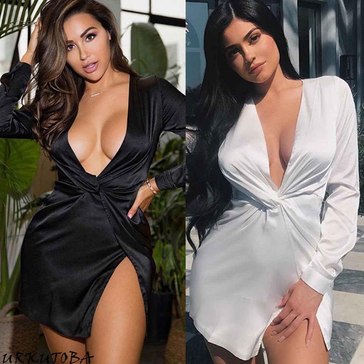 81b433297cd4 Sexy Womens Satin Bandage Bodycon Dress Solid Deep V-neck Long Sleeves Slim Mini  Dress