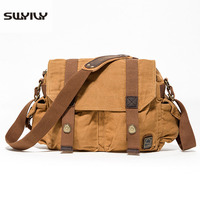 SWYIVY 2019 Men's Bag Canvas Cross Body Shoulder Bag Solid Color 2019 New Hot Quality Men's Messenger Bag Yellow